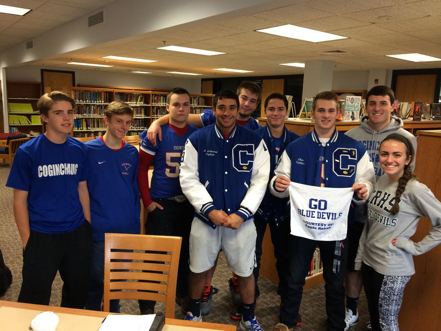 Coginchaug athletes all decked out in their Blue Devil gear.
