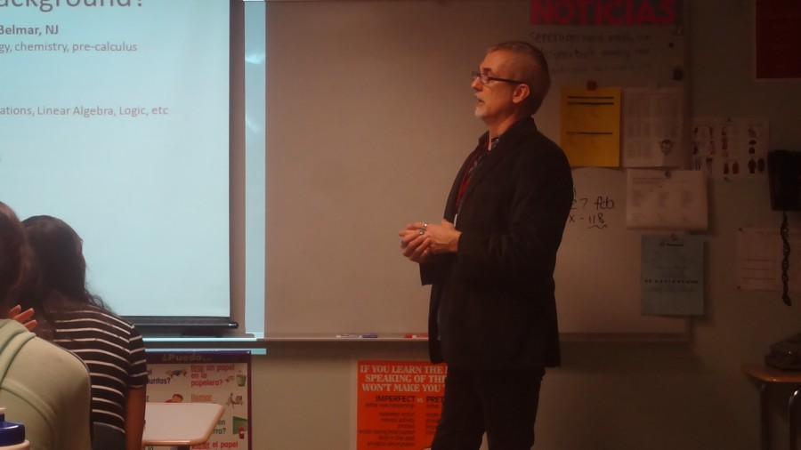 Mr.+McCann+speaking+to+the+group+of+potential+science+scholars+at+CRHS.