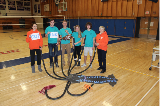 The CRHS Ocean Bowl team and Coach Lorrie Martin pose for their photo they submitted for the competition brochure. (Left to Right Amelia Bianchi, Ryan Gossart, Garrett Puchalski, Lydia D'Amato, Josh Dalo, Lorrie Martin)  Photo Courtesy of Michelle Mandel