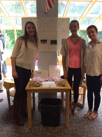 Sophomores Lily Bournival, Emily Carroll, and Erin Hassmann represent EDGE.