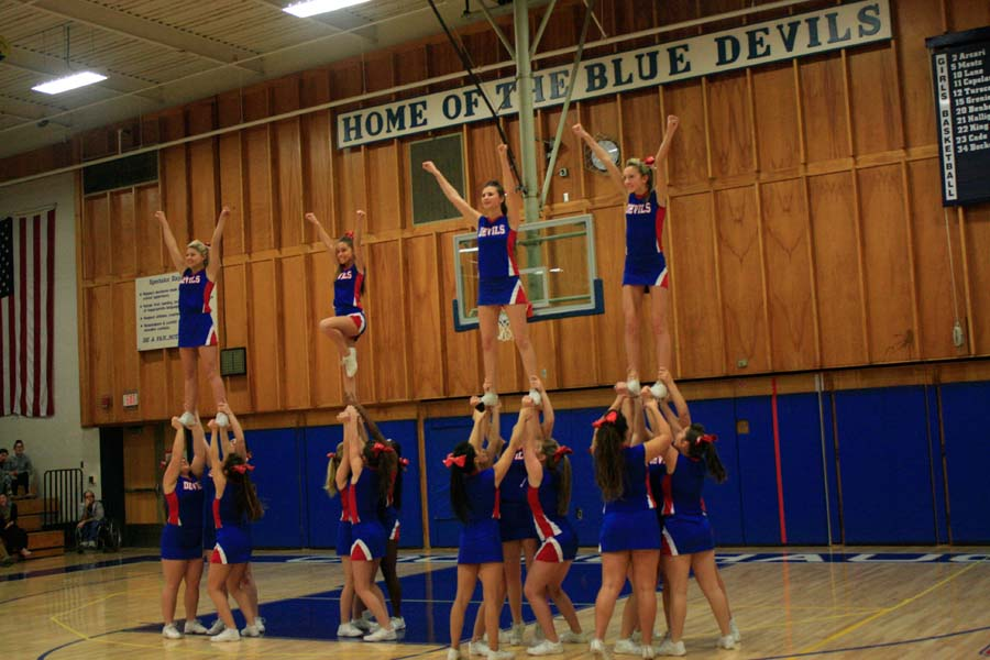 Cheerleaders Show Spirit for Girls BBall Victory vs. Rocky Hill