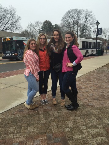 Katelynn Branciforte, Carlie Annecchino, Lauren Donnelly, and Emily Mallinson pose on the University of Connecticut campus.