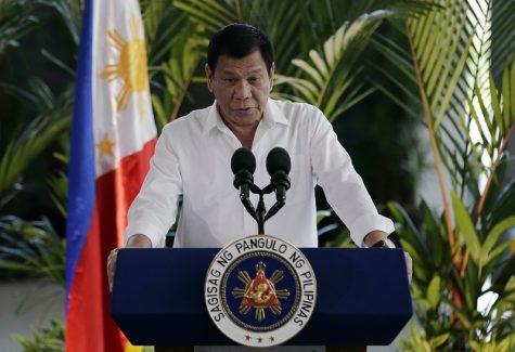 Philippine President Rodrigo Duterte delivers his speech during departure ceremonies at Manila