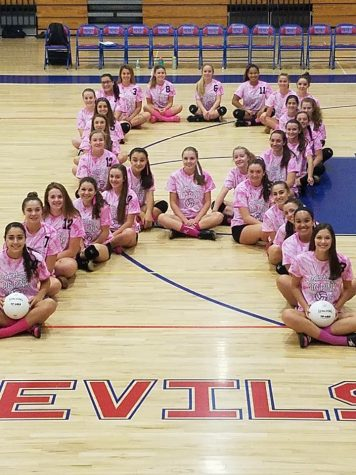 Volleyball Team Raises Over $1,000 at Annual Dig Pink Game