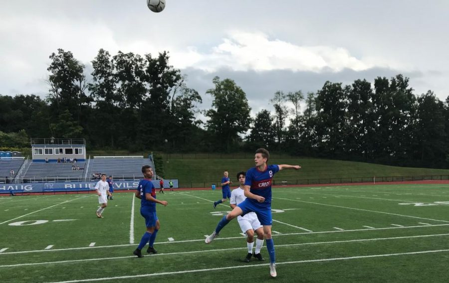 Junior Anthony Gavrilovic heads the ball