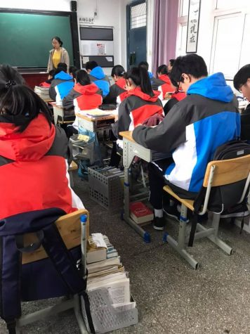 Students from Ningbo, China attend class.